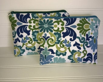 Handmade Zipper Pouch | Blue - Green Floral