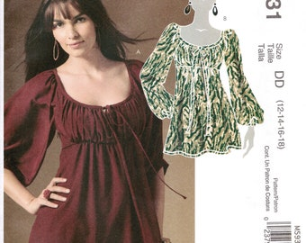 McCALL'S 5931 sewing pattern. Empire waist peasant top pattern.  Size 12-14-16-18  New.  Uncut.  Factory folded.
