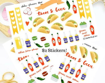 Tacos and Beer Planner Sticker - /Happy Planner/Passion Planner/Filofax/Bullet Journal/Traveler's Notebook/MAMBI Stickers