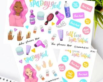 Spa Day Mani Pedi Self Care Stickers for Erin Condren Happy Planner/Passion Planner/Filofax/Bullet Journal/Traveler's Notebook