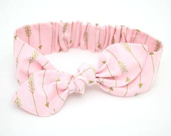 Baby girl headband, topknot baby, baby turban, baby bows, cotton knotted headband, toddler headband, baby headband, pink and gold arrows