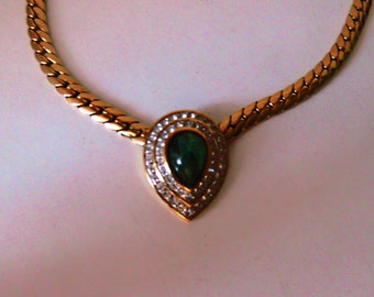 Green stone surrounded by rhinestone Locket necklace / S 90 mark A * S