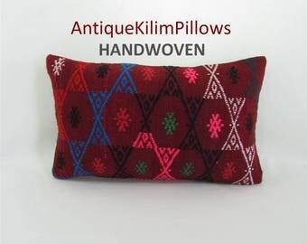 embroidered pillow kilim pillow 12x20 lumbar pillow sofa furniture pillow living room decor decorative pillows 001435