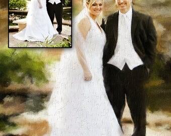 Portrait de mariage. Portrait personnalisé de couple. Tableau peint d'après photo – Portrait personnalisé à télécharger