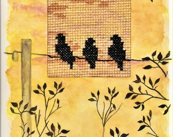 Handmade greeting card, hand-painted with watercolours and hand-embroidered, 100% cotton threads, Dreamy scenery, birds resting before dusk
