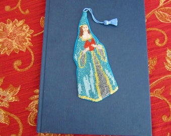 Handmade embroidered bookmark, hand embroidered with 100% cotton threads, with blue lining and pompon, Medieval princess reading a book