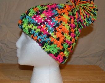 Neon Pom Pom Crochet Hat