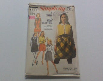 Simplicity 7777, 1960s Vintage Sewing Pattern, Womens Vest, Shirt and Skirt, Sleeveless Jacket, Size 14, Bust 36, Uncut, Factory Folded