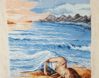 Tapestry - Embroidered pictures - Vintage Embroidered - Hand Made Embroidered - Girl in the sea.