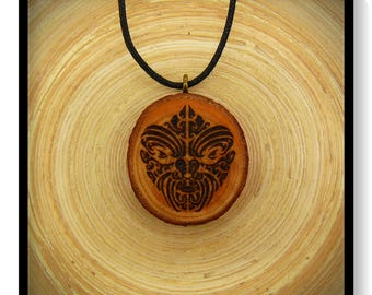 "Soul slices ""Maori, Polynesian, Tiki 8"" wood necklace, vintage * Ethno * hippie * MUST have * statement *"