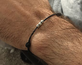 Mens Silver Bracelet, Mens Leather Bracelet, Mens Gift, Simple Silver Bracelet, Boyfriend Gift, Husband Anniversary Gift, Mens Jewelry