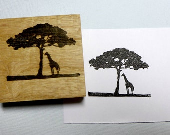 Giraffe with Tree Silhouette Rubber Stamp