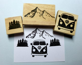 Caravan, Mountain & Trees Travel Rubber Stamp Set