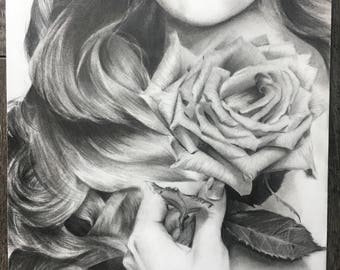 Original Graphite Pencil Drawing: Girl with a Rose