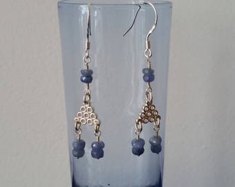 Silver triangle and blue sapphire earrings