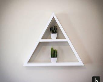 Triangulum Triangle Wall Shelf by Bobincraft - Wood Rack - Wooden Wall Decor - White Large Wall Shelves - Geometric Shaped Handmade 2 tier