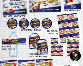 Nerf Party Printables Extra Large Nerf Print Kit Printable Package Decoration Supplies Strongarm Nerf Kit with Name & Age - Digital Files