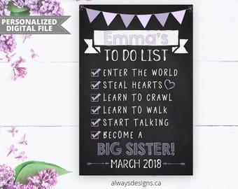 To Do List Big Sister Chalkboard Printable, Pregnancy Announcement Sign, Baby Reveal, Photo Prop Sign, Digital Chalkboard, Digital File