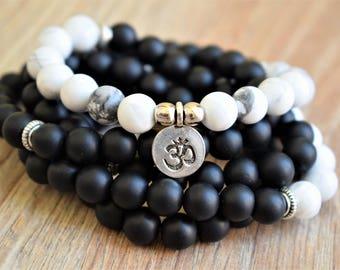 black white mala mens mala beads necklace 108 prayer beads energy mala yoga wrap bracelet meditation mala om wrist mala howlite mala onyx