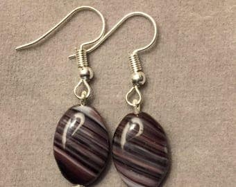 Black accent czech glass bead earrings