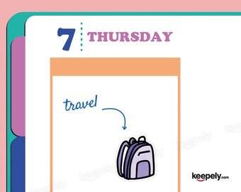 Backpack Sticker Planner Scrapbooking Kawaii Hand Illustrated Kiss-Cut Art Holidays Weekend Travel Trip Adventure Camping School Work Plane