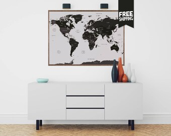 world map, world map wall art, world map print, world map poster, large wall map, World Travels Map, Map Art, World Map decor, Travel Map