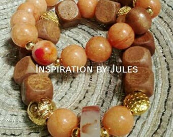 Duo of wood with stone bracelets