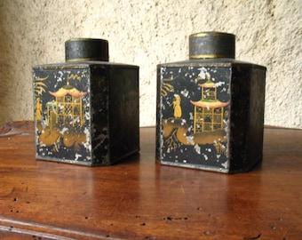 Pair of vintage Japanese Tea Cans, 1920