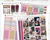 Coffee and Flowers - Weekly Kit for Classic Happy Planner   Printable Planner Stickers   Includes Silhouette Cut File   Instant Download