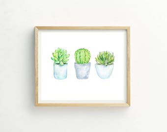 Cactus and Succulent Print | Cactus Painting | Cactus Watercolor | Cactus Wall Art | Succulent Picture | Succulent Poster | Succulent Art