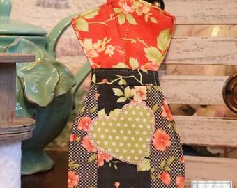 Ready to ship Handmade  Farmhouse Chic Floral Dress Form Scissor holder