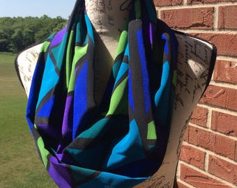 "Infinity Scarf, 72"" around x 9.5 wide, Blues, purples, beautiful stained glass.  Look,  Women's Fashion Scarf"