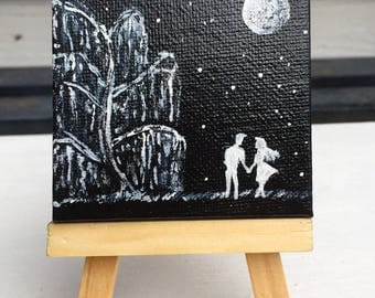 Summer Night Sky | couple painting | miniature acrylic painting of couple | by Jeni Hudson Art