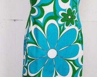 Retro Mod Vintage Inspired Homemade Aqua Green White Floral Maxi Dress Large