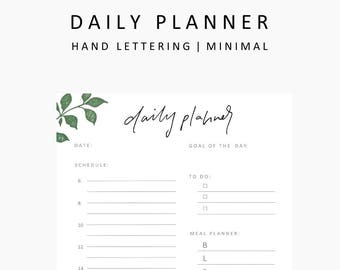Daily Planner printable,student planner printable,printable planner,hand lettering,printables,instant download,planner,student, productivity