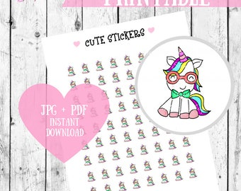 Cute Stickers, Unicorn stickers, Planner Stickers, Printable stickers, Kawaii printables, Kawaii stickers, Craft Stickers