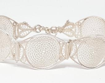 """Vintage Sterling Silver 925 Filigree Link  Bracelet 7"""""""
