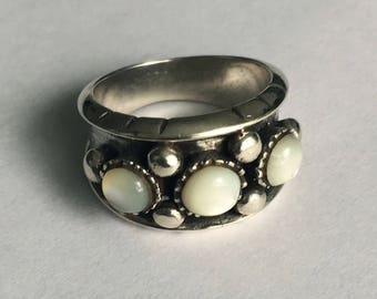 Moonstone ring, silver ring, 925 sterling silver, broadband, size 54