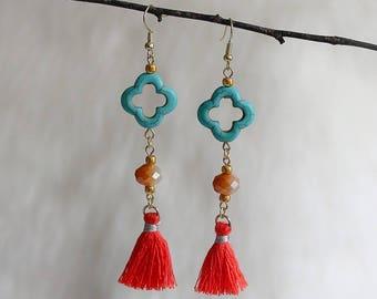 Mei Tassel Earrings, Quatrefoil Clover Earrings, Turquoise