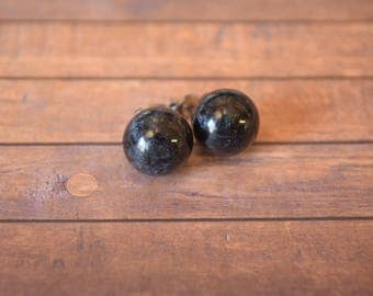 Black Metallic Resin, Stud, Globe, Earrings.