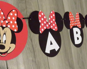 Minnie Name Banner, Minnie Mouse Name Banner, Minnie Mouse Birthday Banner, Minnie Mouse Birthday Name Banner
