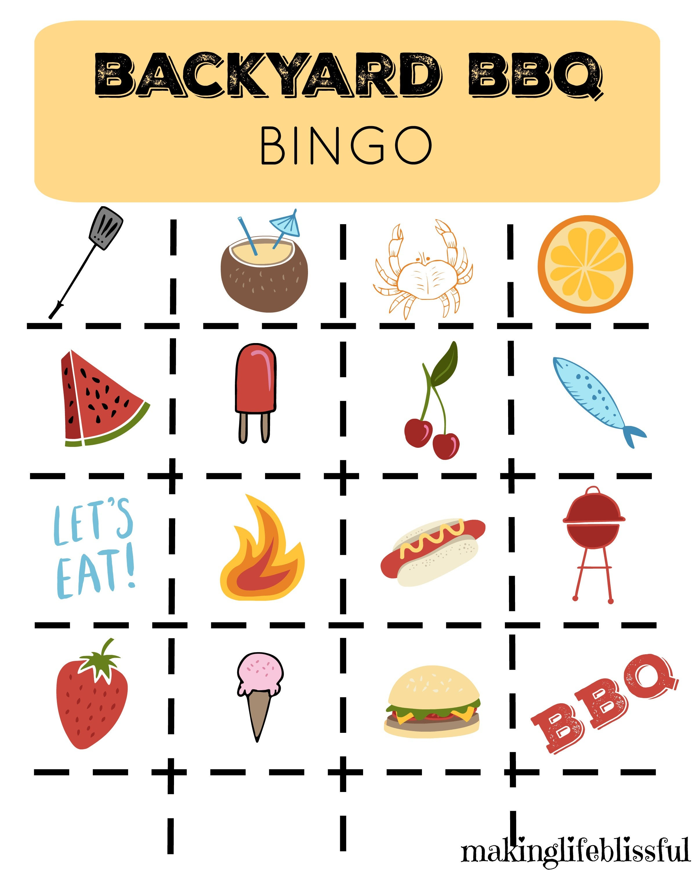 Backyard BBQ Picnic Printable Invites Bingo and Memory Game