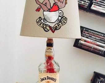 Jack Daniel's bottle lamp hand painted handmade lampshade Pin UP