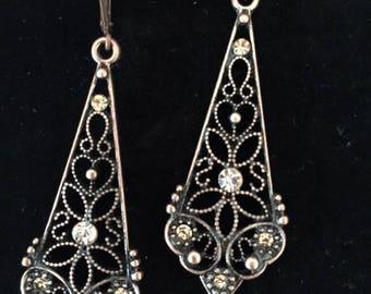 Vintage Earrings / Copper Earrings / Dangle Earrings / Art Deco Earrings / Statement Earrings / Filigree / Boho  / Long Earrings / Bridal