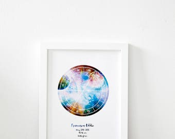 The Magic Moment, Framed Personal Horoscope, Astrology Star Map, Custom Natal Star Chart Star Map, (Unframed Options Available in Shop)