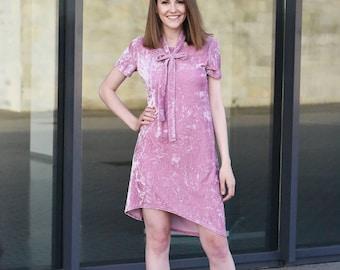 Pink Velvet Dress, Crushed Velvety Dress, Light Pink Women Dress, Dress With Strap, Elegant Dress, Vintage Pink Dress, Pastel Dress