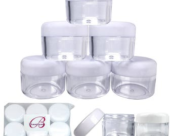 1 Oz 30 Gram 30 ml Clear Acrylic Jar Containers with White Round Top Lids for Makeup Glitter Cream Pigment Powders Art Craft Supplies & More