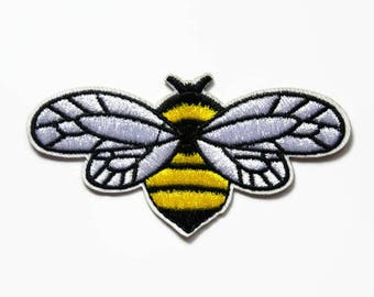 Patches Bee Patch - Bumble Bee Applique - Patches for Jackets Wings Iron on Patch - Small Embroidered Patch Bee - Insect Animal Motif Patch
