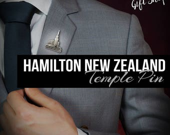 Hamilton New Zealand Temple pin in silver or Gold Finish