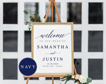 navy elegant welcome to our wedding sign template welcome wedding template welcome wedding sign diy wedding